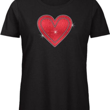 Rood hart strass