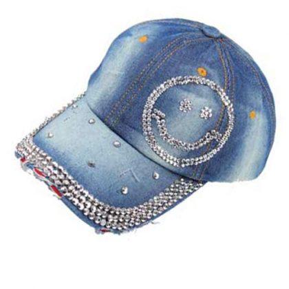 Bling smiley jeans cap