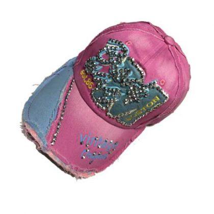 Lichtroze retro broadway jeans cap