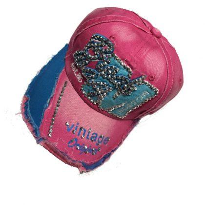 Roze vintage broadway jeans cap