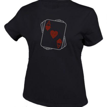 harten aas bling tshirt zwart