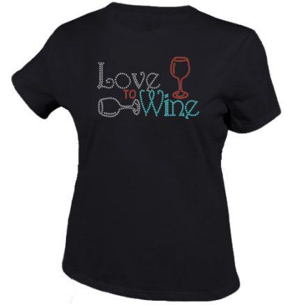 Ik hou van wijn shirt zwart