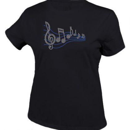 muzieknoten shirt zwart