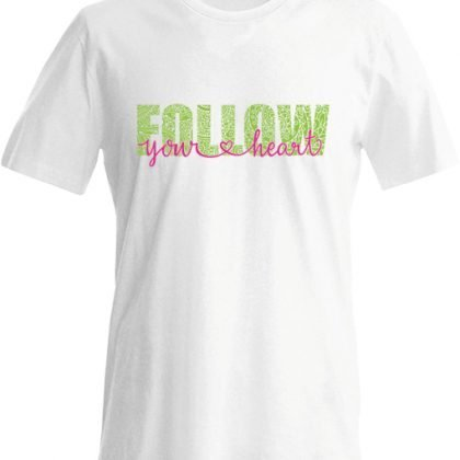 volg je hart shirt wit