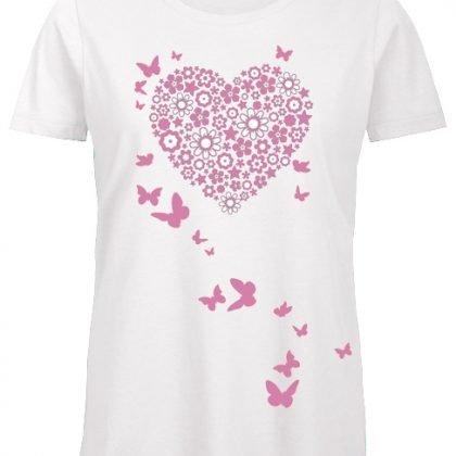 Bloemenhart vlinders shirt wit